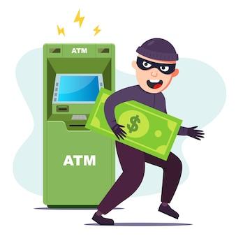 Der dieb hat geld von einem geldautomaten gestohlen. das terminal hacken, um zu stehlen. flache charakter-vektor-illustration.
