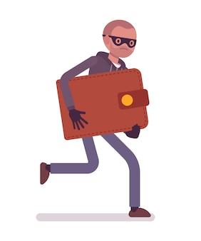 Der dieb in einer schwarzen maske hat die brieftasche gestohlen und rennt davon