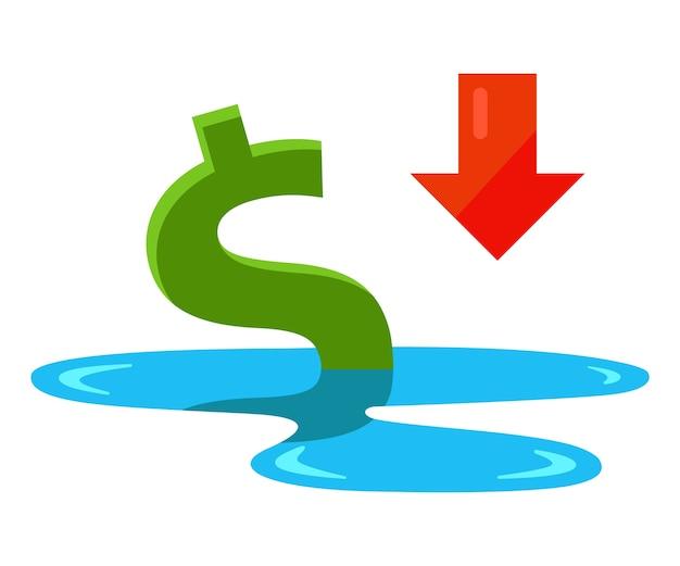 Der dollar ertrinkt in einer pfütze. sinkende wirtschaft in den vereinigten staaten. flache vektorillustration lokalisiert auf weißem hintergrund.