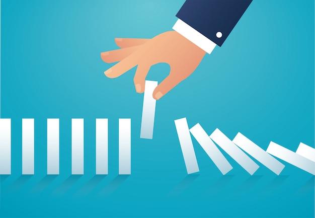 Der domino-effekt. unternehmenskonzept