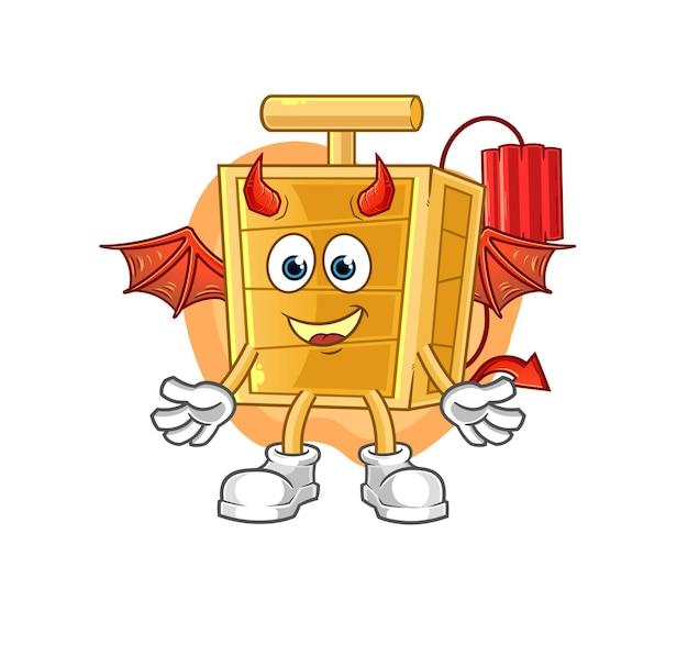 Der dynamit-detonator-dämon mit flügelcharakter. cartoon maskottchen