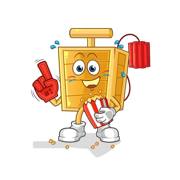 Der dynamit-zünder-fan mit popcorn-illustration. charakter