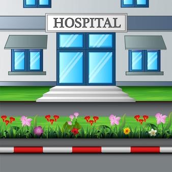 Der eingang zum krankenhausgebäude