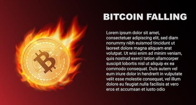 Der fall der bitcoin-münze im feuer während des roten marktes