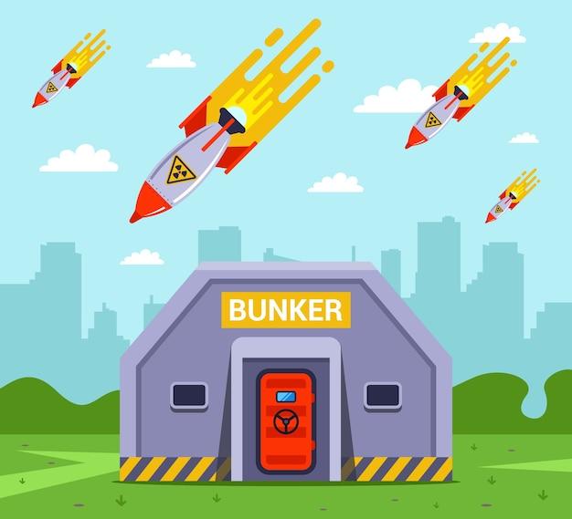Der fall von atombomben auf die stadt. menschen in bunkern vor raketen retten. flache illustration
