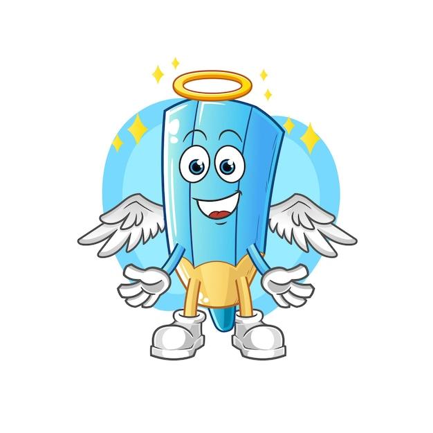 Der farbstift engel mit flügeln. zeichentrickfigur