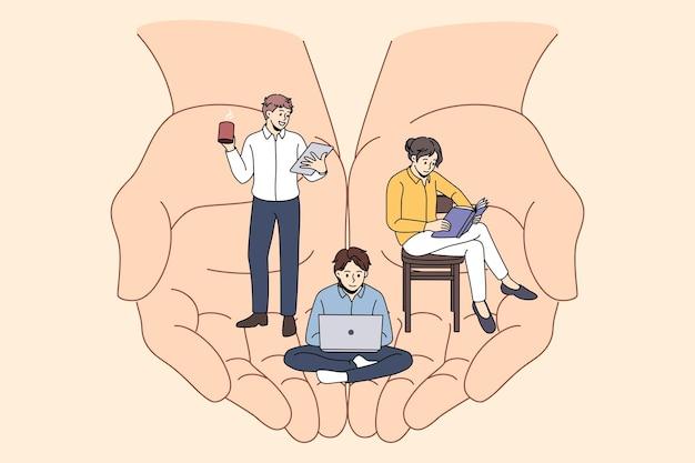 Der firmenleiter kümmert sich um das büroteam der arbeiter. vektorkonzeptillustration der arbeitsbalance und des modernen büros. arbeitsleistungen für arbeitnehmer