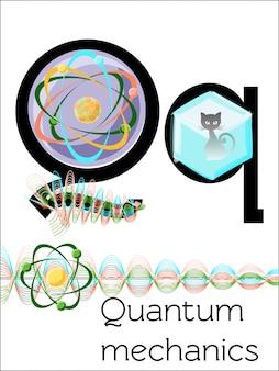 Der flash-kartenbuchstabe q ist für quantenmechanik.