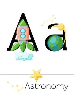 Der flashcard-buchstabe a ist für astronomie. wissenschaftsalphabet für kinder.