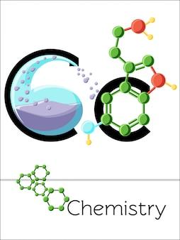 Der flashcard-buchstabe c steht für chemie. wissenschaftsalphabet für kinder.
