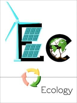 Der flashcard-buchstabe e steht für ökologie. wissenschaftsalphabet für kinder. Premium Vektoren