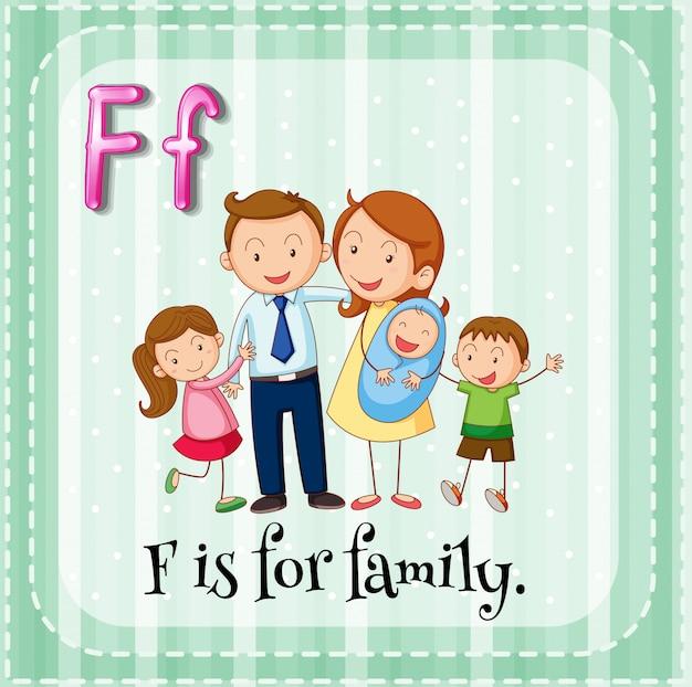 Der flashcard-buchstabe f ist für familien