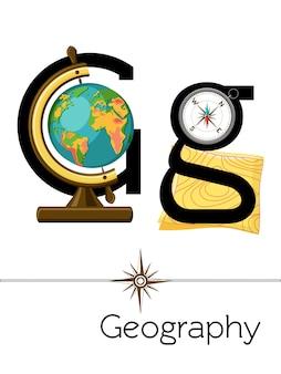 Der flashcard-buchstabe g steht für geografie.