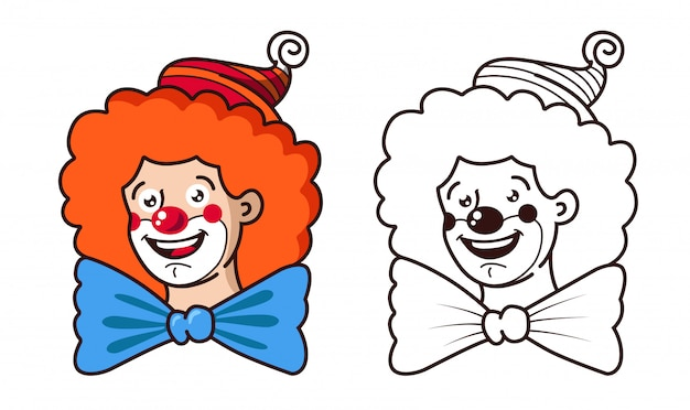 Der freundliche clown lächelt. farb- und schwarz-weiß-version.