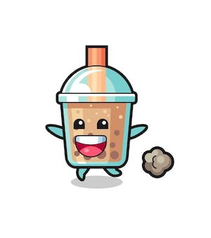 Der fröhliche bubble tea-cartoon mit laufender pose, süßem design für t-shirt, aufkleber, logo-element