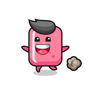 Der fröhliche kaugummi-cartoon mit laufender pose, süßem design für t-shirt, aufkleber, logo-element