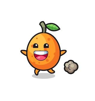 Der fröhliche kumquat-cartoon mit laufender pose, süßem design für t-shirt, aufkleber, logo-element