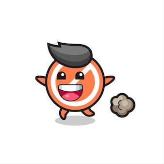 Der fröhliche stoppschild-cartoon mit laufender pose, süßem design für t-shirt, aufkleber, logo-element