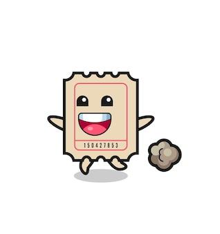 Der fröhliche ticket-cartoon mit laufender pose, süßem design für t-shirt, aufkleber, logo-element