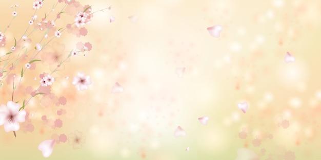 Der frühling kommt. sakura blütenblätter fallen herunter. schöner rosa hintergrund mit zweig der kirschblüte.