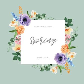 Der frühlingsrahmen, der frische blumen annonciert, fördern, dekorkarte mit buntem mit blumengarten, hochzeit, einladung