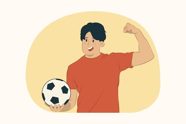 Der fußballfan des jungen mannes muntert die lieblingsmannschaft der unterstützung mit fußball auf, der bizepsmuskeln zeigt