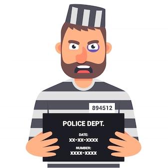 Der gefangene kriminelle hält ein schild mit dem namen ein ausweisfoto. charakter.