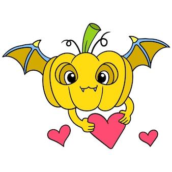 Der geflügelte kürbis der fliegenden fledermaus bringt herzen für die valentinstagsfeier, doodle draw kawaii. illustrationskunst