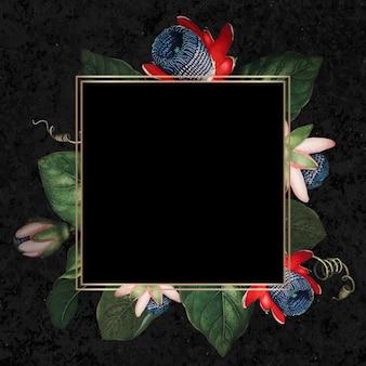 Der geflügelte passionsblume quadratischer rahmenvektor frame