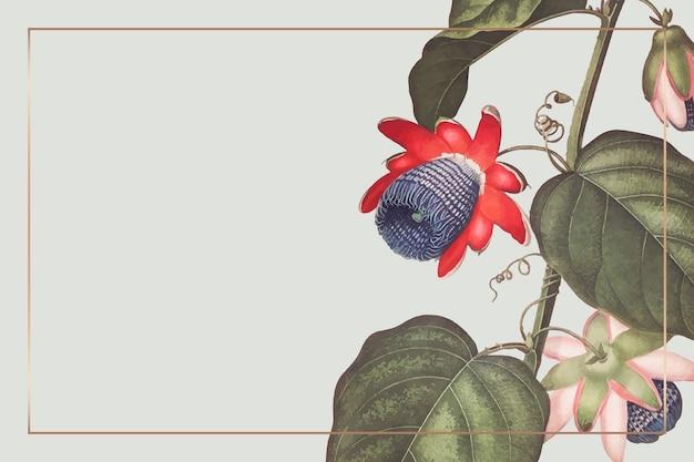 Der geflügelte passionsblumen-rechteckrahmen