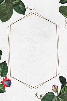 Der geflügelte passionsblumen-sechseck-rahmenvektor