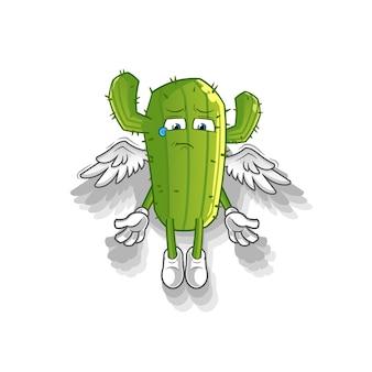 Der geist der kaktus-zeichentrickfigur verlässt das körpermaskottchen