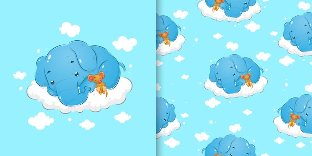 Der gekritzelmustersatz des verschlafenen elefanten, der neben der kleinen maus der illustration schläft