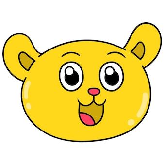 Der gelbe bärenkopf lachte glücklich, vektorillustrationskarton-emoticon. gekritzelsymbol-zeichnung