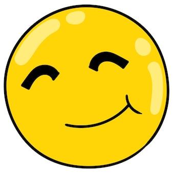 Der gelbe kugelkopf lächelt warm, vektorillustrationskarton-emoticon. gekritzelsymbol-zeichnung