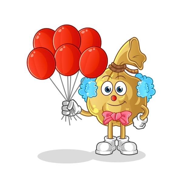 Der geldsackclown mit luftballons. cartoon maskottchen cartoon maskottchen maskottchen