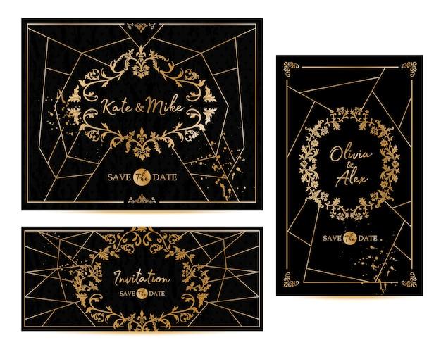 Der geometrische vintage-rahmen im art-deco-stil kann als einladung und glückwunsch verwendet werden