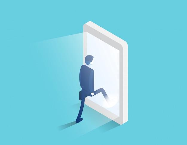 Der geschäftsmann betritt einen leuchtenden smartphone-bildschirm. digitales portal und zugang