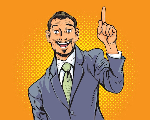 Der geschäftsmann, der finger zeigt, bekommt idee retro im pop-art-comic-stil.