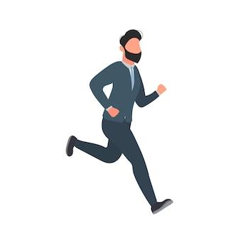 Der geschäftsmann läuft. ein mann im anzug läuft. gut für das design von geschäftsthemen. vektor.