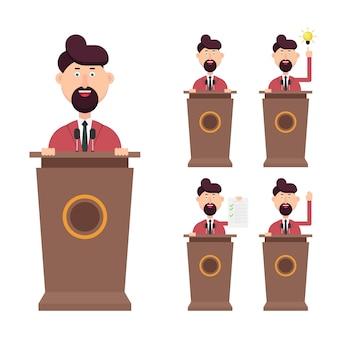 Der geschäftsmann spricht in verschiedenen aktionen auf dem podium