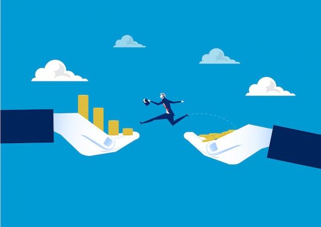 Der geschäftsmann springend über abgrund zwischen münzenwachstum an hand. unternehmenskonzept. vektor-illustration