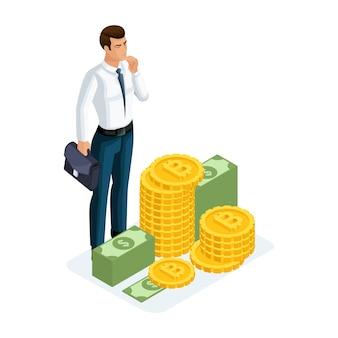 Der geschäftsmann steht neben einem großen haufen geld und weiß nicht, was er damit anfangen soll. illustration eines finanzinvestors