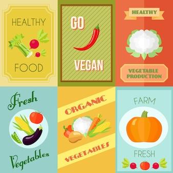 Der gesunde lebensmittelveganer und vegetarische miniplakatsatz mit frischgemüse des bauernhofes lokalisierte vektorillustration