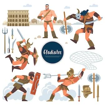 Der gladiator. stellen sie in historischen gladiator der alten rom-illustration, flache charaktere der krieger ein. krieger, schwert; rüstung; schild, arena, kolosseum. flacher stil.
