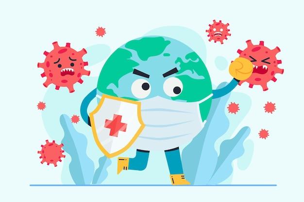 Der globale kampf gegen das virus Premium Vektoren
