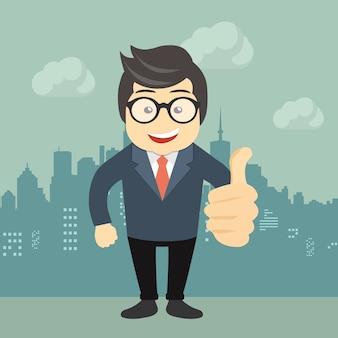 Der glückliche Geschäftsmann, der Daumen macht, up Zeichen