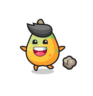 Der glückliche papaya-cartoon mit laufender pose, süßem design für t-shirt, aufkleber, logo-element