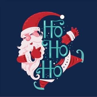 Der glückliche springende und lächelnde weihnachtsmann sagen ho ho ho mit beschriftungshintergrund