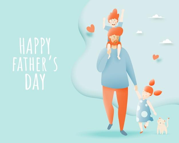 Der glückliche vatertag mit vater und sohn und tochter mit pastellentwurf und papierkunst vector illustration